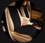 MyMats Черные передние широкие накидки на сиденья из алькантары