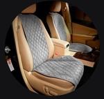 MyMats Серые передние широкие накидки на сиденья из алькантары